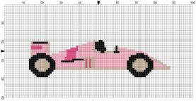 Beginner's Pink Racing Car Counted Cross Stitch Sewing Kit